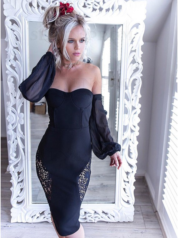 Sheath Off-the-Shoulder Long Sleeves Knee-Length Black Homecoming Dress with Lace