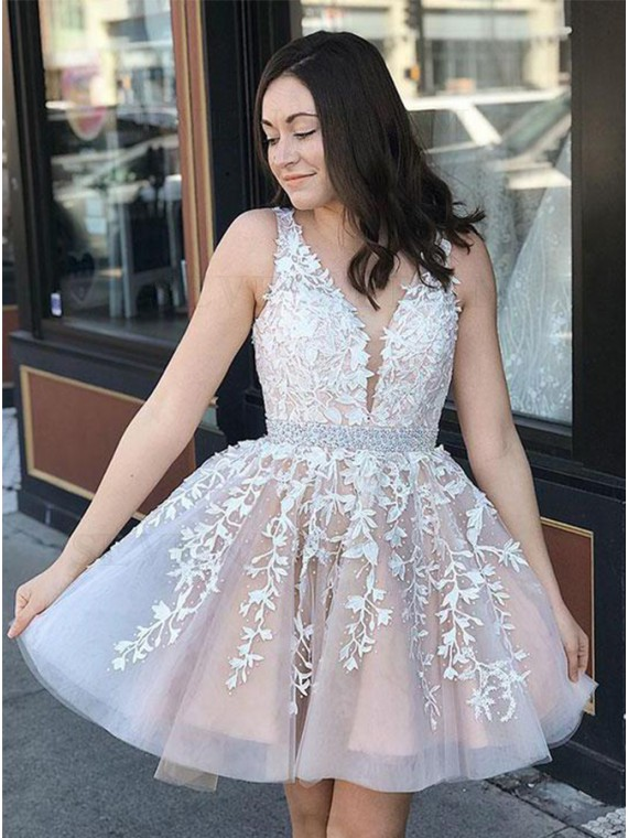 A-Line V-Neck Short Champagne Homecoming Dress with Appliques Beading