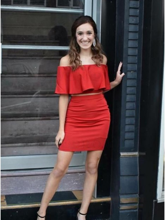 Two Piece Off-the-Shoulder Above-Knee Red Homecoming Dress with Ruffles