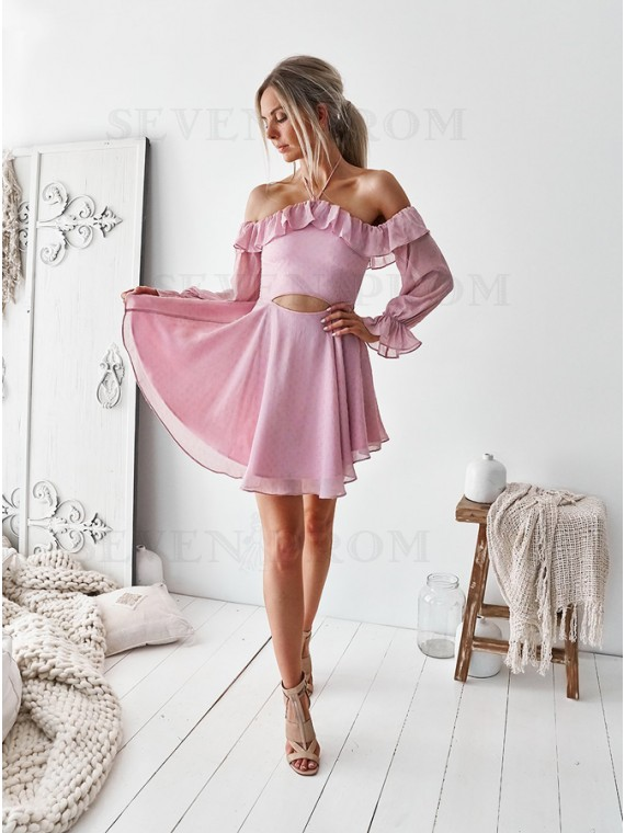 A-Line Halter Above-Knee Pink Cut Out Homecoming Dress with Ruffles