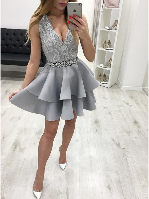 A-Line V-Neck Short Grey Tiered Homecoming Party Dress with Appliques Beading