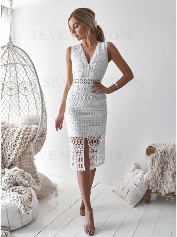 Sheath V-Neck Mid-Calf White Lace Cocktail Dress Short Homecoming Dress