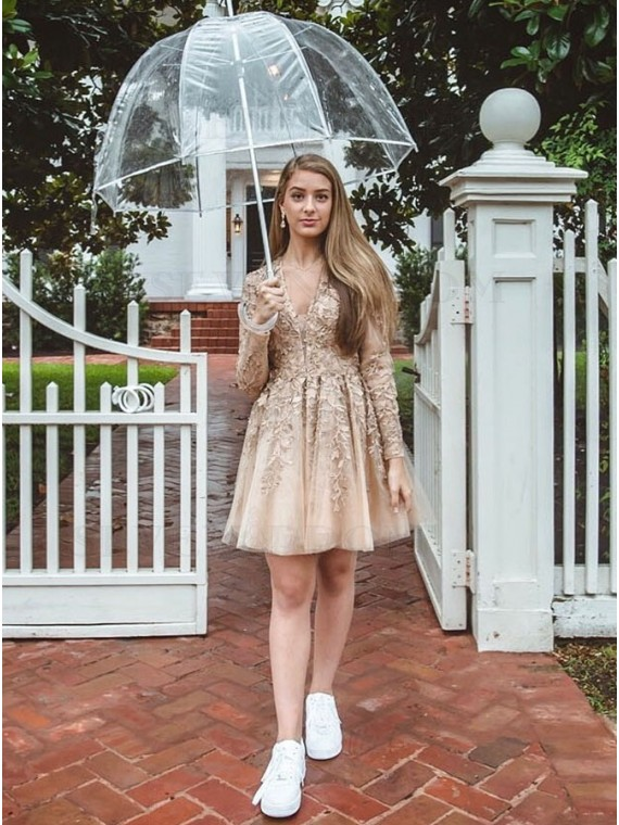 A-Line V-Neck Open Back Champagne Homecoming Dress with Sleeves