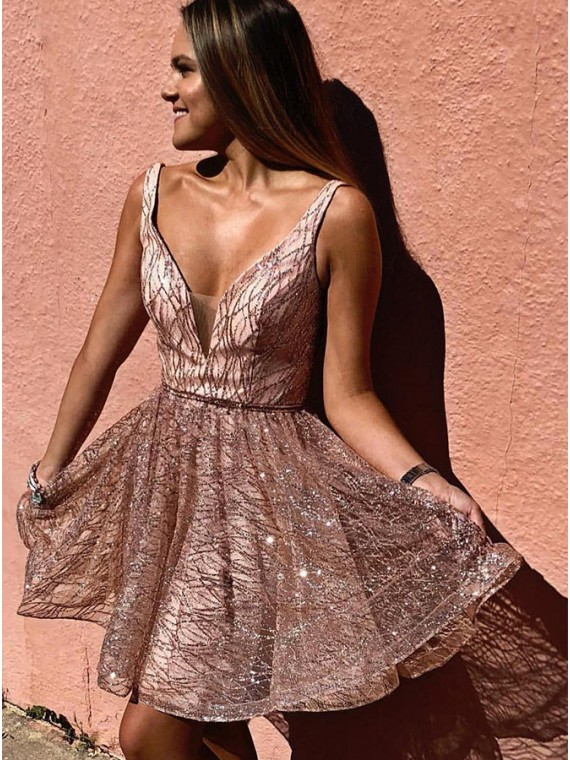 Chic A-Line V-Neck Short Pink Homecoming Dress with Sequin