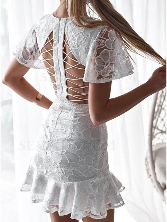 White Lace Short Dress with Sleeve