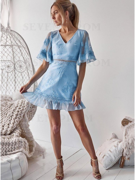 Light Blue Lace Short Dress with Sleeve