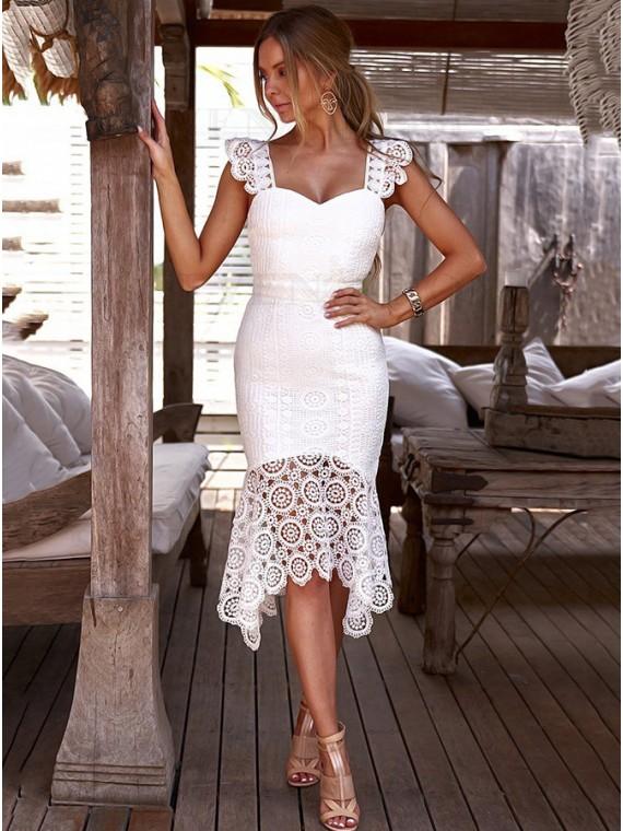 Sweetheart Symmetrical Mermaid White Lace Dress