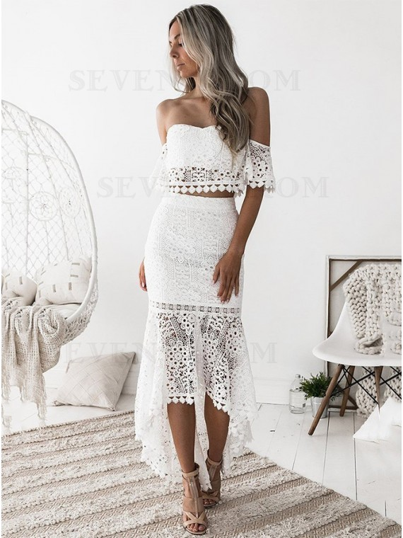 Two Piece Sweetheart Lace White Dress