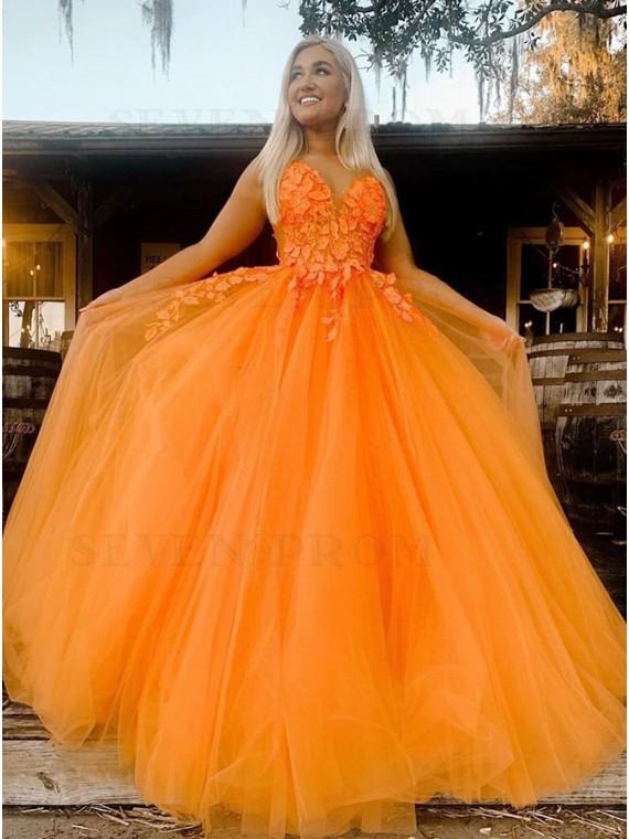 Orange Appliques Long Prom Dress