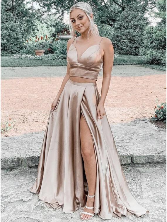 Champagne Split Long Prom Dress