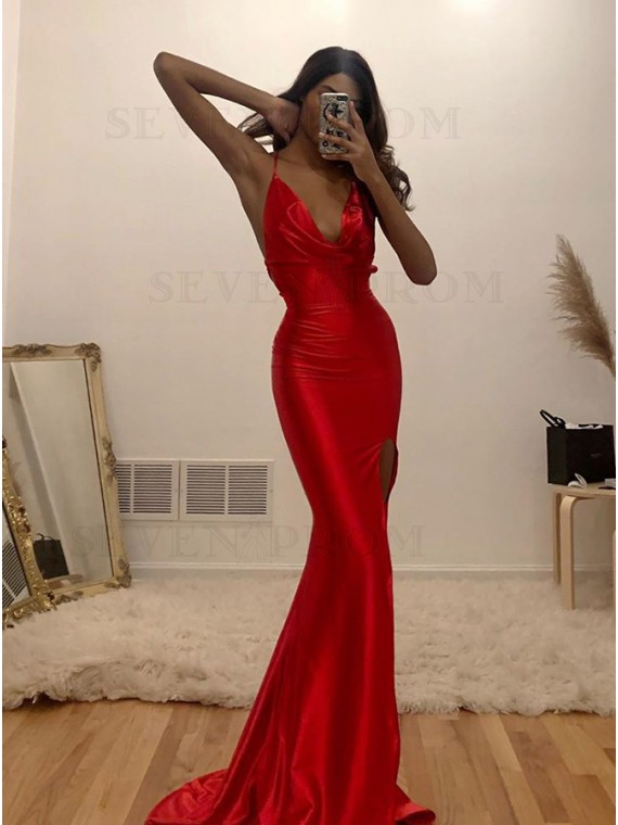 Long Sexy Red Prom Dress Mermaid Evening Dress with Split