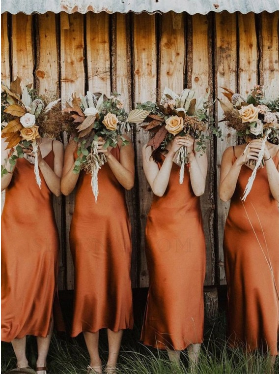 Simple Spaghetti Straps Rust Long Boho Bridesmaid Dress