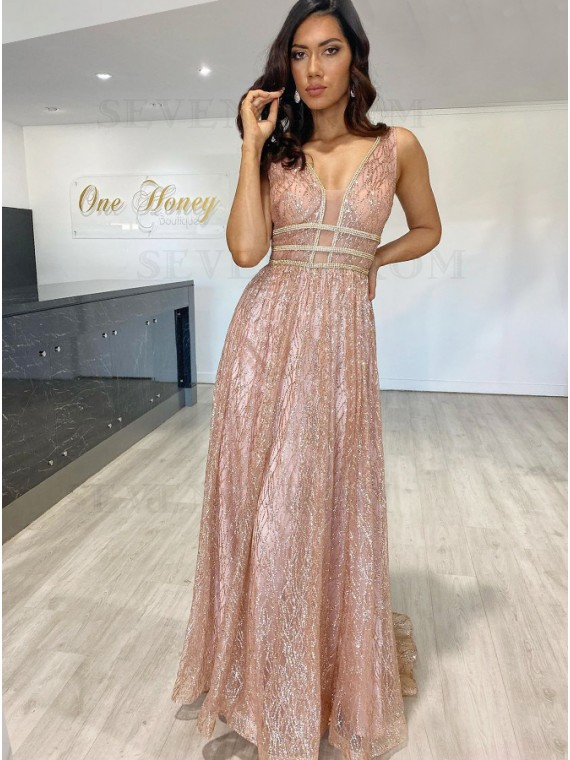 Champagne Sheath Sequins Prom Dress