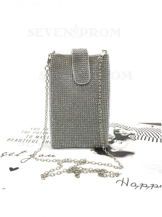 Silver Rhinestone Chain Clutch Bag