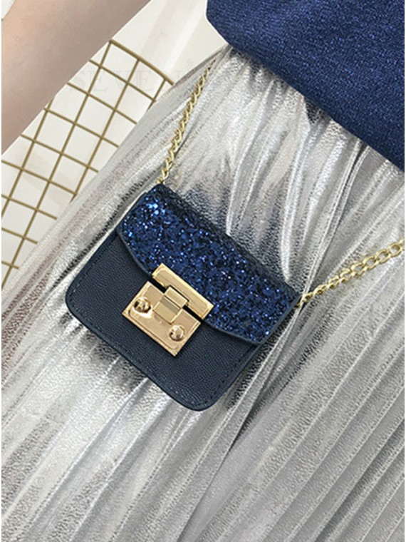 PU Navy Blue Chain Clutch Bag