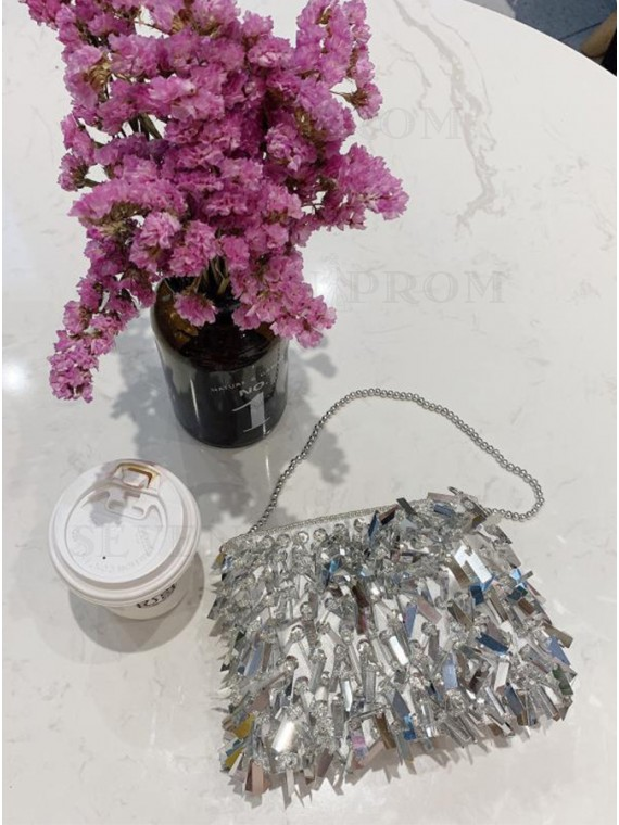 Sequin Beaded Silver Tote/Clutch