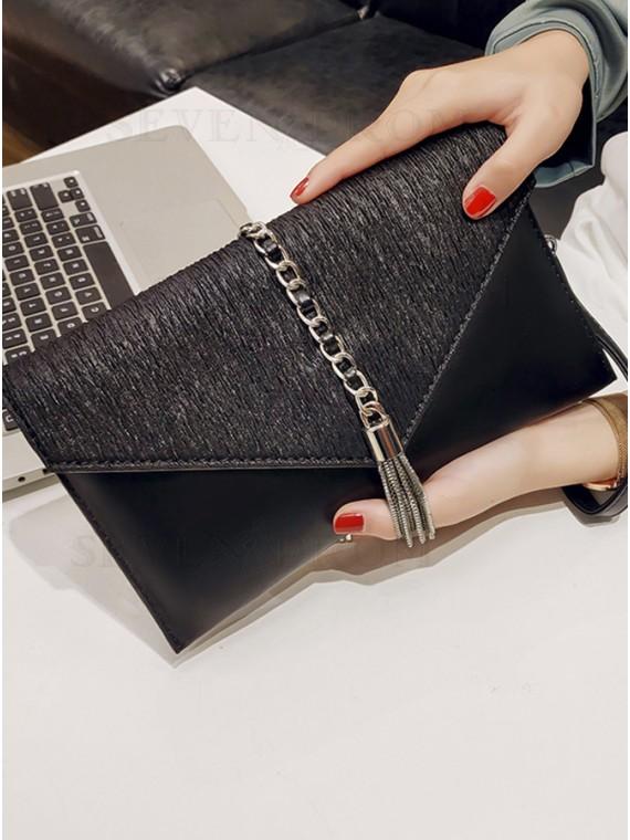 Black Envelope Clutch Bag