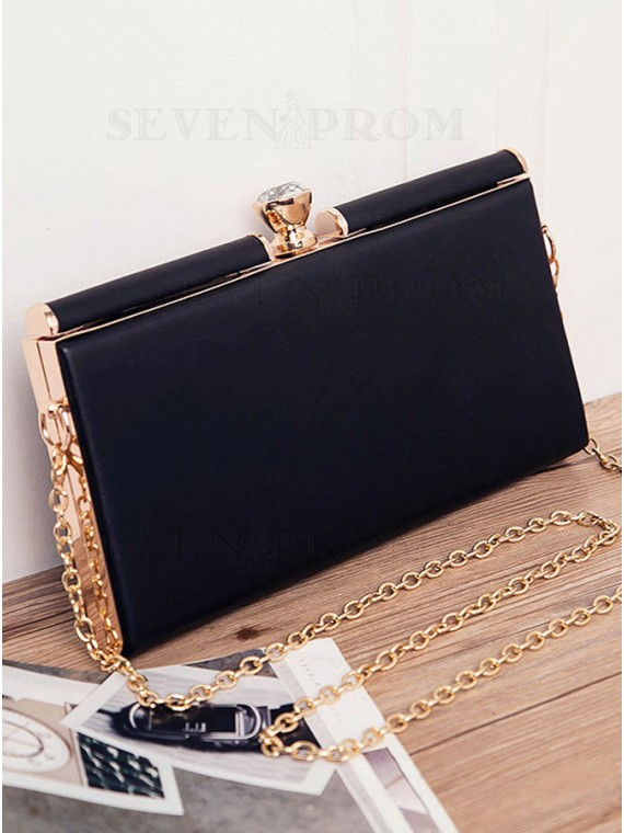 Black PU Chain Clutch Bag with Rhinestone
