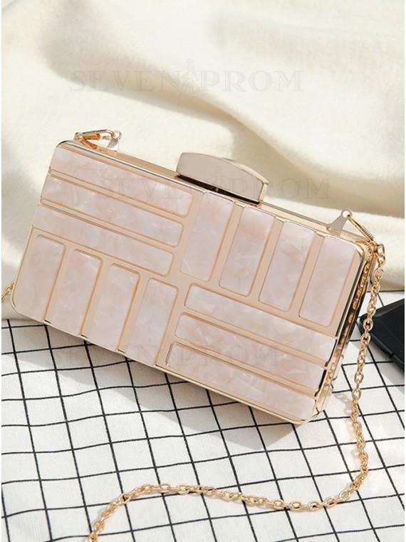 Pearl Pink Chain Clutch Bag
