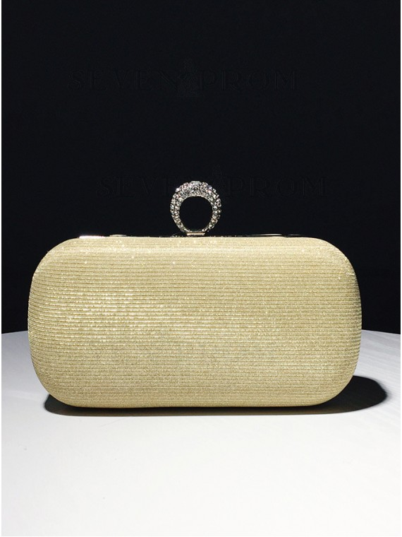 Gold Beaded Closure Chain Clutch Bag