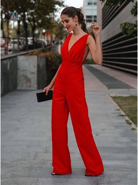 Elegant V-Neck Backless Red Jumpsuit
