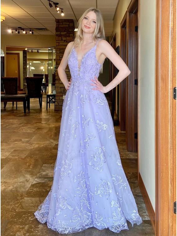 Long Satin Lavender Prom Dress