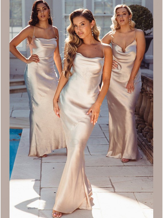 Mermaid Satin Sleeveless Spaghetti Straps Long Bridesmaid Dress With Criss-Cross Straps