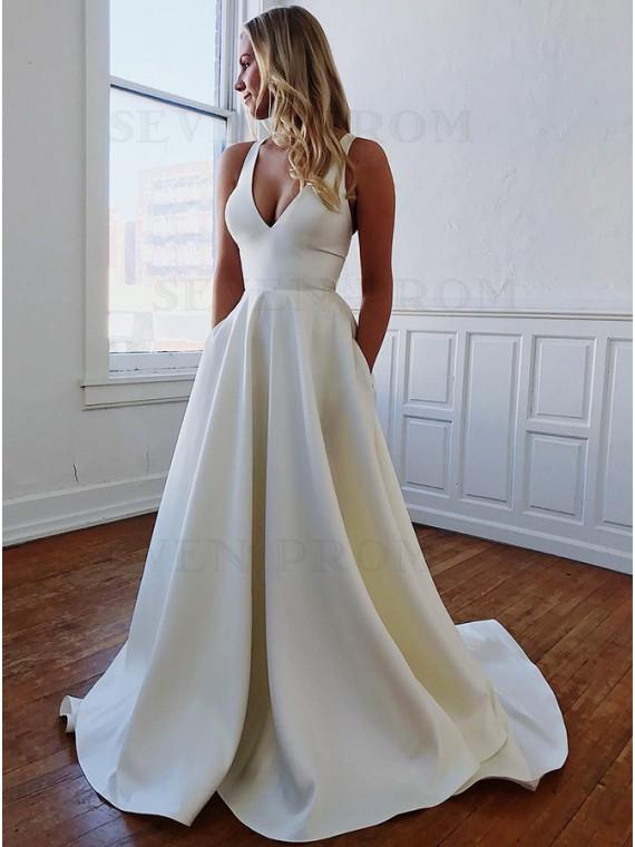 Simple Satin A-line V-Neck Long White Wedding Dress
