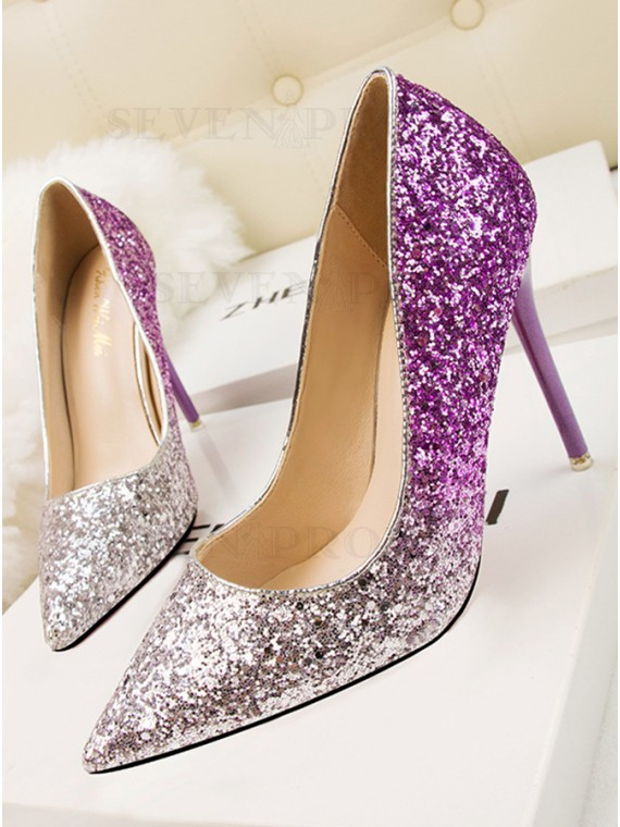 Ombre Pointy Toe High HeelS Women's Shoes with Stiletto Sequins