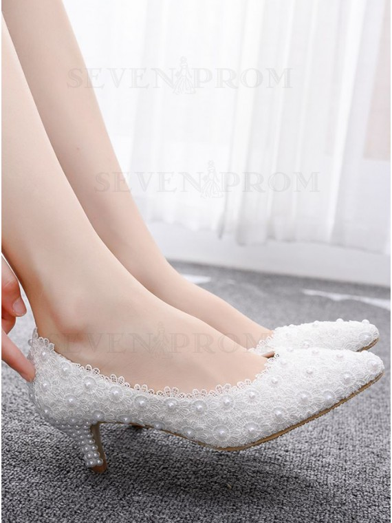 White Lace kitten Low Heels with Pearls