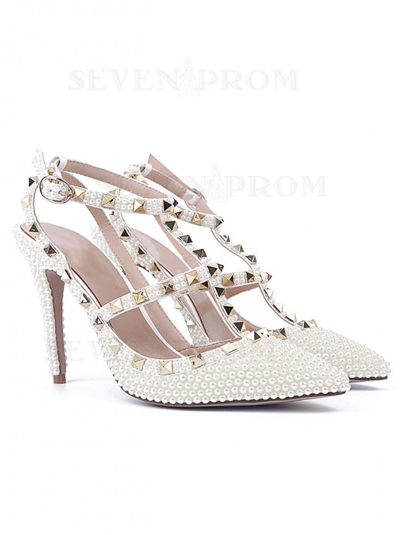 White Sandals High Heels with Pearl Rivet