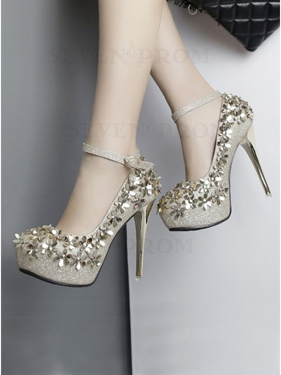 Gold High Heels Closed Toe Platform Pumps With Sparkling Glitter