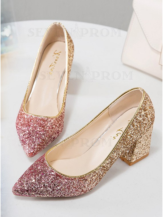 Ombre Chunky Heel Pointy Toe Sequin Women's Shoes