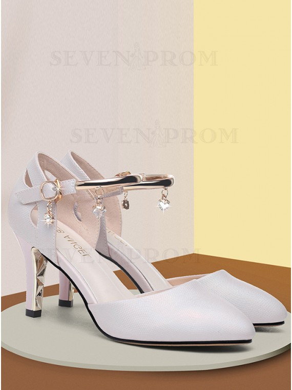 Spool Heel Closed Toe Pearl Pink Prom Shoes