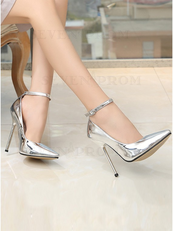 Pumps High Heels Silver Shoes with Detachable Belt