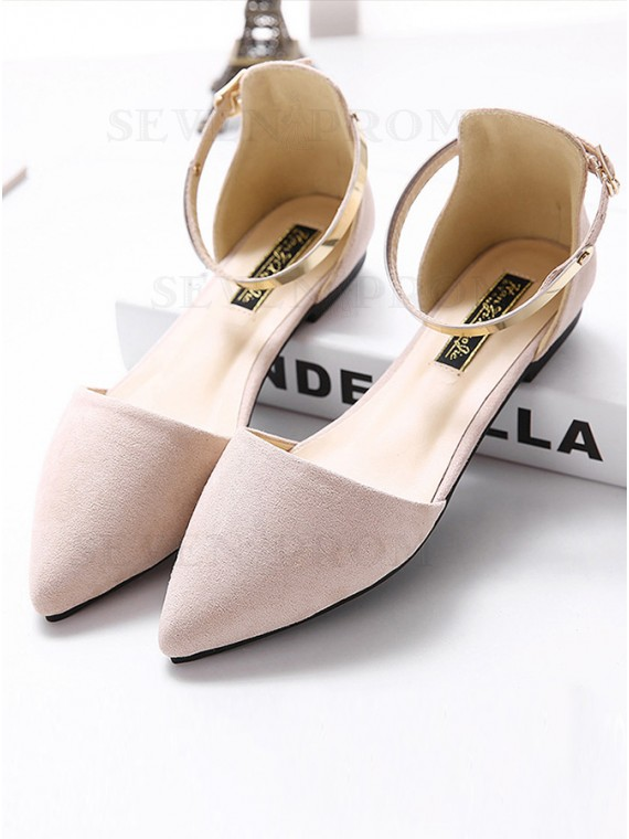 Apricot Flat Heel Ankle Straps Sandals