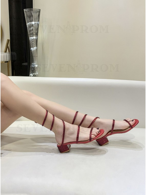 Fashion Beaded Red Sandals
