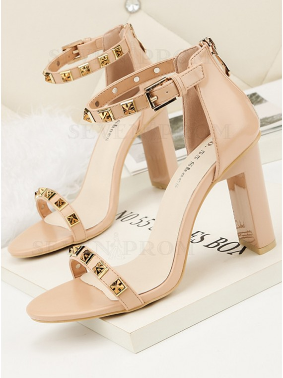 Apricot High Heel with Rivet Prom Shoes