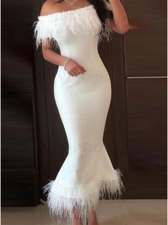 Off the Shoulder Mermaid Prom Dress White Party Dress