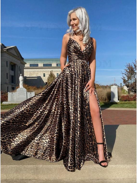 Animal Print Leopard Long Prom Dress with Slit Pockets