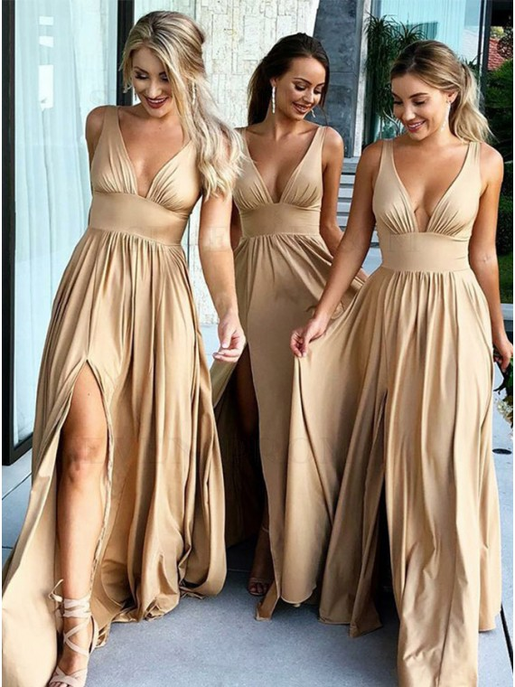 Popular A-Line V-Neck Long Champagne Bridesmaid Dress with Split