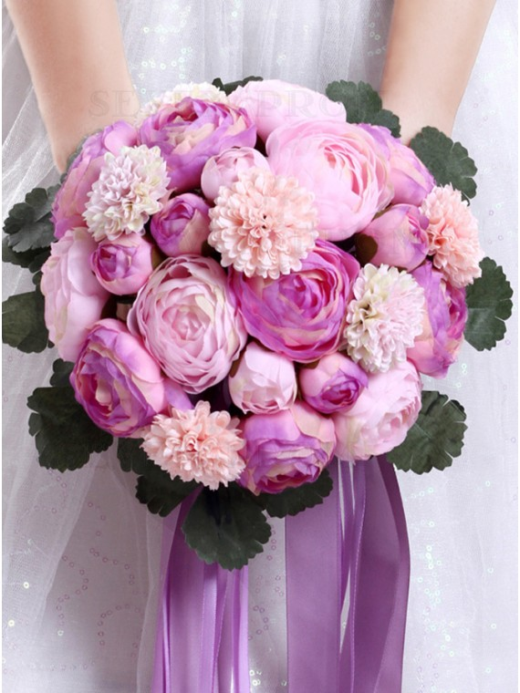 Rose Pink Peony Bridal Bouquets Bridesmaid Bouquets For Wedding