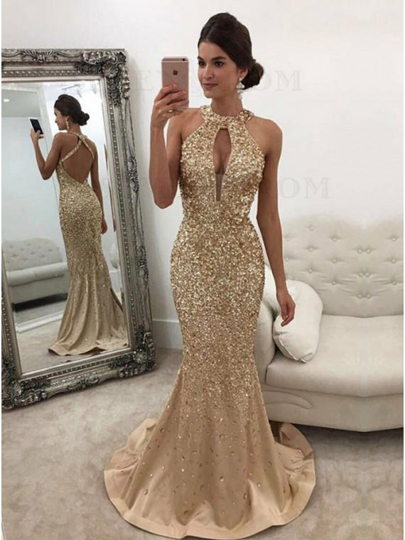 Halter Mermaid Prom Dress with Beading Keyhole Gold Evening Dress
