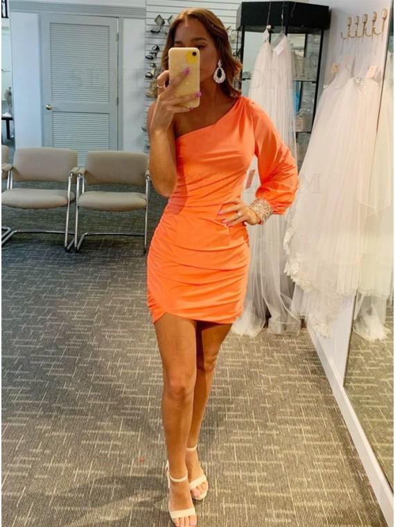 One Shoulder Orange Homecoming Dress