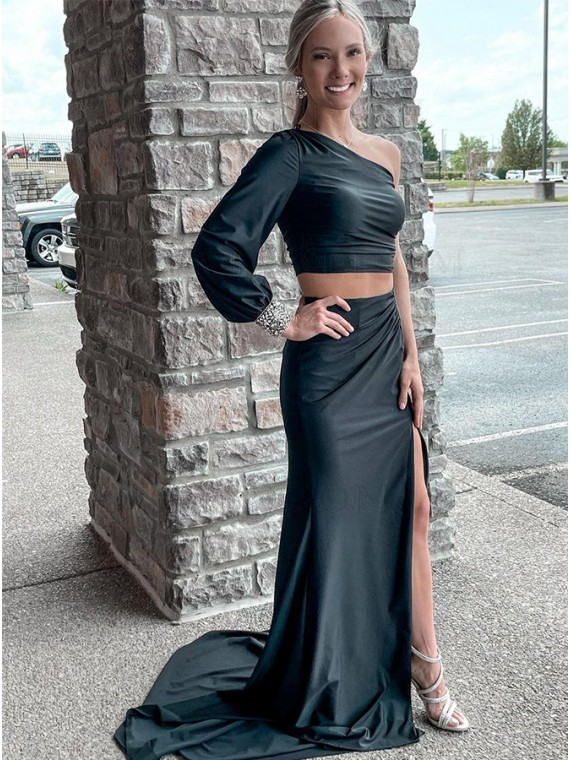 One Shoulder Two Piece Black Long Prom Dress
