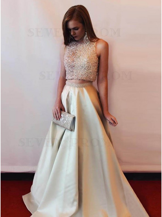 Two Piece Crew Neck Open Back Floor-Length Champagne Prom Dress with Beading