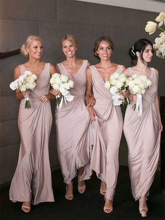 Sheath V-Neck Long Bridesmaid Dress with Ruched