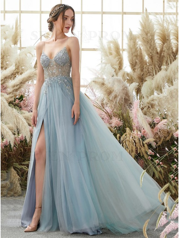 A-Line Spaghetti Straps Long Split Light Blue Prom Dress With Beading