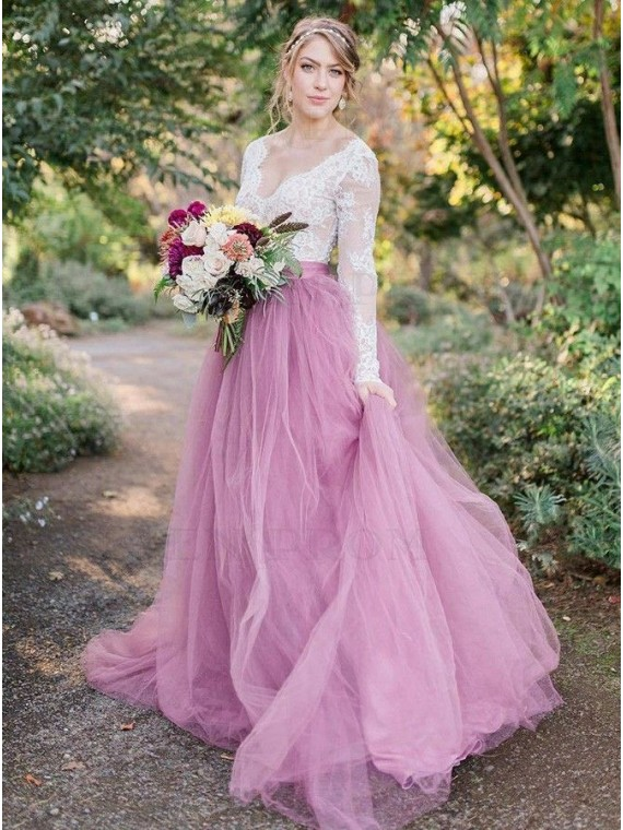 Pink and White Colorful Wedding Dress with Sleeve