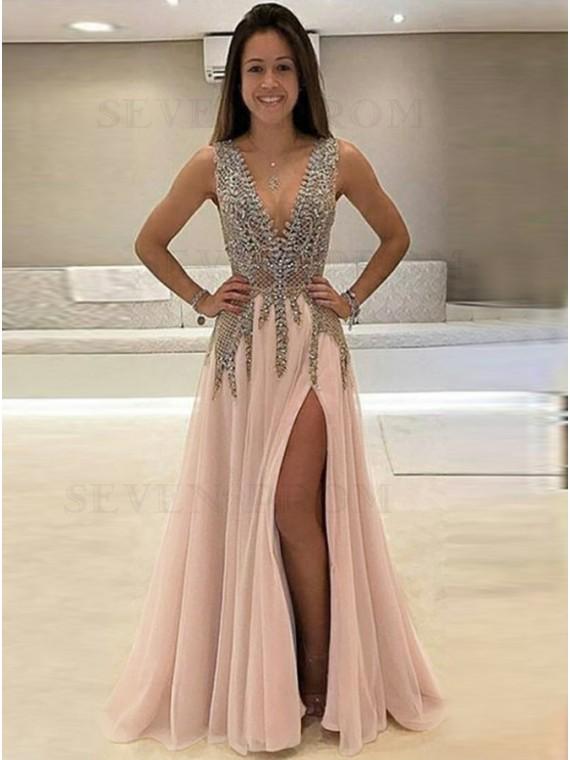 A-Line Deep V-Neck Long Open Back Pink Prom Dress with Beading Split
